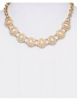 rhinestone-&-faux-pearl-teardrop-necklace by wet-seal
