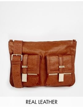 river-island-tan-leather-double-pocket-messenger-bag by river-island