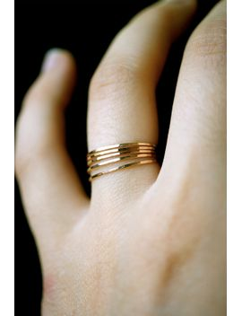 gold-stacking-rings,-set-of-5,-gold-stack-ring,-ultra-thin,-hammered-gold-ring,-skinny-gold-ring,-delicate-gold-ring,-minimalist-ring by hannahnaomi