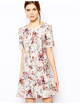 warehouse-textured-floral-flippy-dress by warehouse