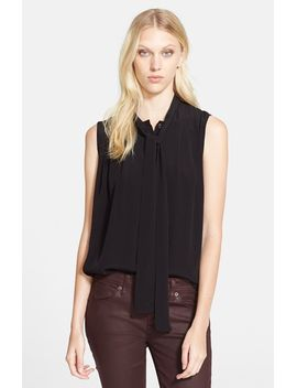 tie-neck-sleeveless-blouse by burberry-brit