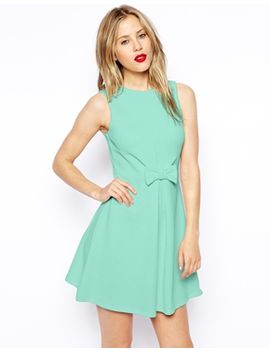 asos-skater-dress-in-texture-with-bow-front by asos-collection