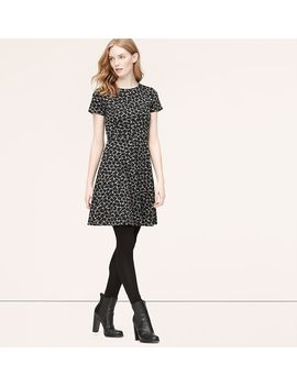 petite-abstract-jacquard-short-sleeve-dress by loft