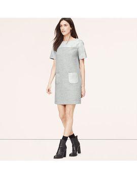 petite-faux-leather-sweatshirt-dress by loft