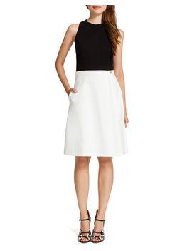 pia-contrast-mixed-media-dress,-black_cream by cynthia-steffe