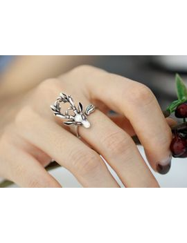 adjustable-deer_-moose_-animal-rings_-womens-teens-retro-burnished-jewelry-black-crystal-wrap-ring by modsthemost