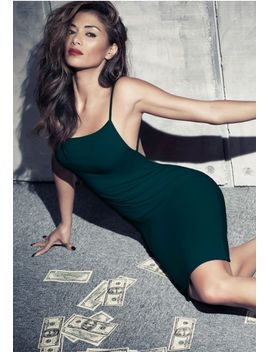 nicole-x-low-back-strappy-midi-dress-forest-green by missguided