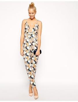 asos-barely-there-jumpsuit-in-floral-texture by asos-collection