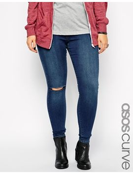 asos-curve-jameson-pull-on-jegging-in-mid-wash-with-rip-knee by asos-curve