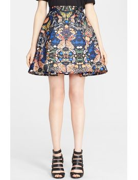 nyla-print-pleat-flared-skirt by alice-+-olivia