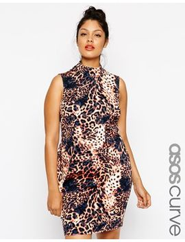 asos-curve-exclusive-dress-with-high-neck-in-animal-print by asos-curve