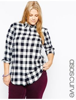 asos-curve-shirt-in-mono-check by asos-curve