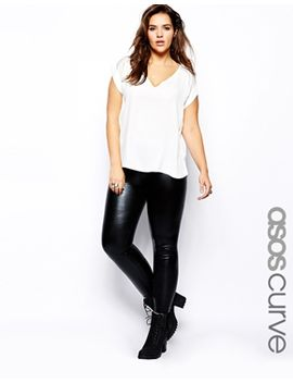 asos-curve-leggings-in-wet-look by asos-curve