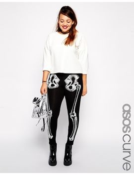 asos-curve-exclusive-legging-with-bones-print by asos-curve