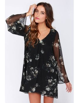 chaser-garden-gala-black-floral-print-silk-dress by chaser
