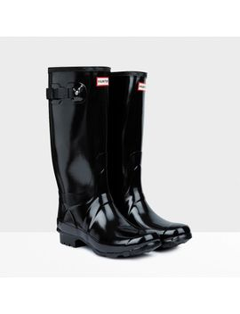 huntress-gloss-wider-calf-rain-boots by hunter