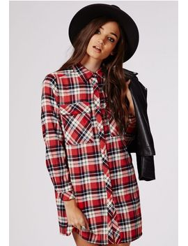 emerey-oversized-shirt-dress-red-tartan by missguided