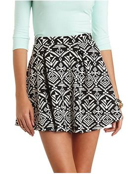 tribal-print-pleated-skater-skirt by charlotte-russe