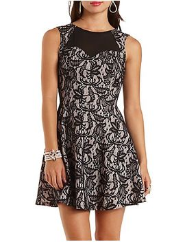chiffon-&-bonded-lace-skater-dress by charlotte-russe