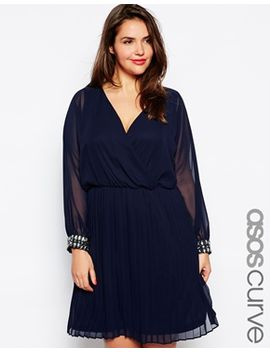 asos-curve-dress-with-embellished-cuff by asos-curve