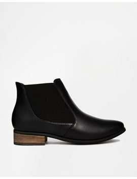 london-rebel-black-flat-chelsea-boot by shoes