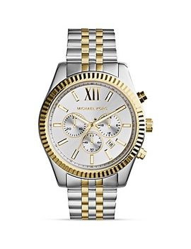 mens-two-tone-lexington-chronograph-watch,-45mm by michael-kors