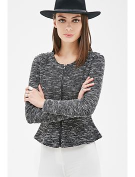 collarless-marled-peplum-jacket by forever-21