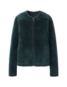 women-fluffy-fleece-long-sleeve-collarless-jacket by uniqlo