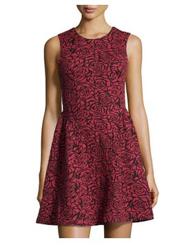 rose-jacquard-fit-and-flare-dress,-red by dex