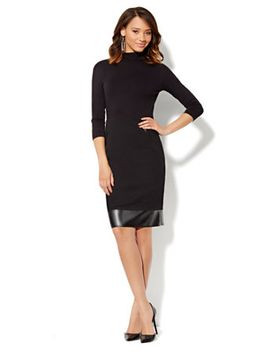 faux-leather-trim-turtleneck-dress by new-york-&-company
