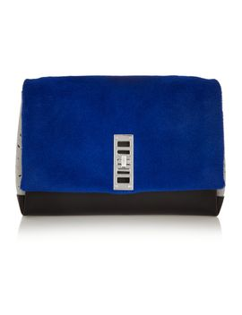 elliot-shearling,-suede-and-leather-clutch by proenza-schouler