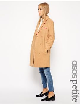 asos-petite-exclusive-textured-coat-with-contrast-collar by asos-petite