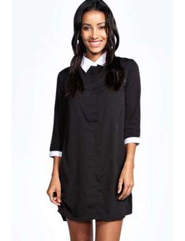 kim-woven-contrast-collar-shirt-dress by boohoo