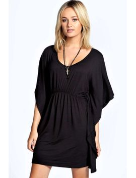 lara-shirred-waist-batwing-dress by boohoo