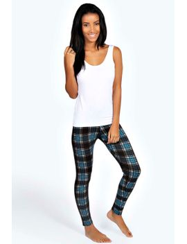 mia-white-strappy-vest-&-tartan-legging-pj-set by boohoo