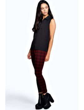 livvy-jacquard-maroon-check-leggings by boohoo