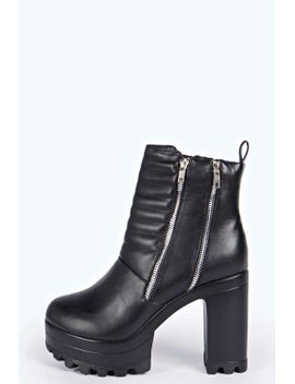 bex-quilted-zip-trim-cleated-boots by boohoo