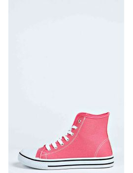ellie-canvas-lace-up-high-top-trainer by boohoo