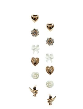 allie-flower-and-bird-earring-set by boohoo
