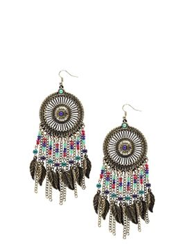 jules-leaf-and-bead-statement-earrings by boohoo