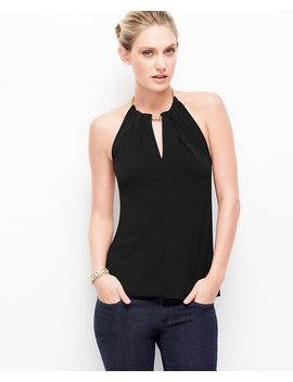 satin-jersey-chain-halter-top by ann-taylor