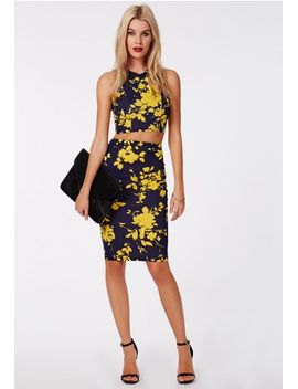 ameena-abstract-floral-scuba-midi-skirt by missguided