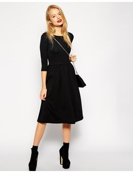 asos-midi-skater-dress-in-texture-with-3_4-sleeves by asos-collection
