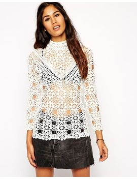 asos-crochet-top-with-high-neck by asos-collection