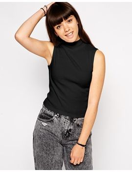 asos-crop-top-in-rib-with-turtle-neck by asos-collection