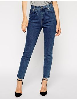 asos-farleigh-high-waist-slim-mom-jeans-in-mid-wash-with-pleat-detail by asos-collection