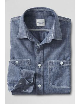 mens-canvas-tailored-fit-guildsman-chambray-workshirt- by lands-end