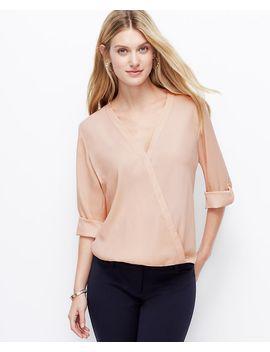 petite-crepe-wrap-blouse by ann-taylor