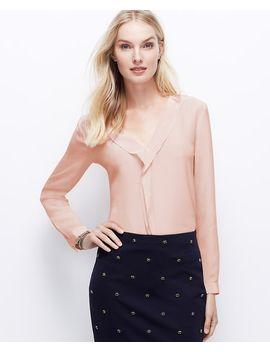 petite-silk-ruffle-front-blouse by ann-taylor
