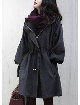 grey-trumpet-sleeve-drawstring-waist-hooded-woolen-coat by sheinside